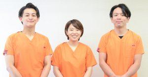 箕面の整体みゅう整骨院の合田先生、高橋先生、中浦先生