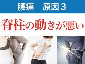 腰痛の三番目の原因は背骨の動きが悪いこと。